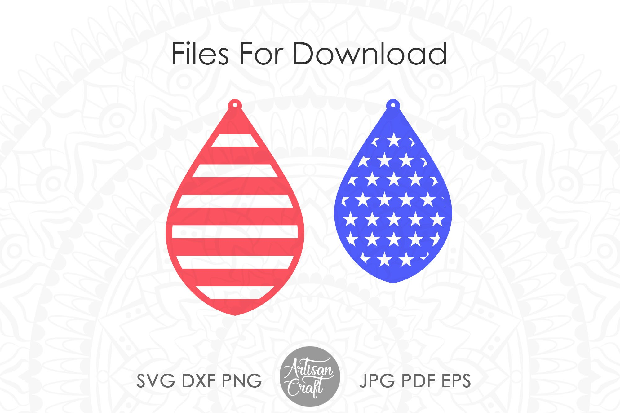 American flag earrings, Fourth of July earrings, svg example image 5