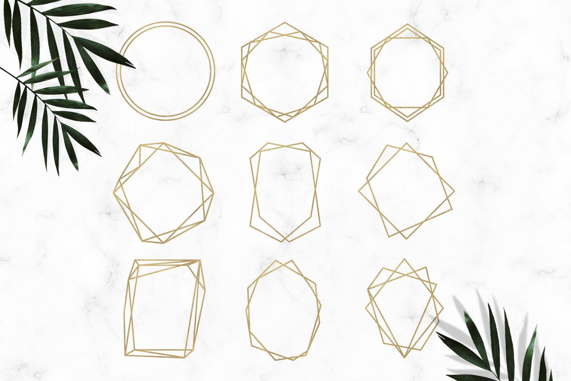 Gold Geometric Frames Clipart example image 3