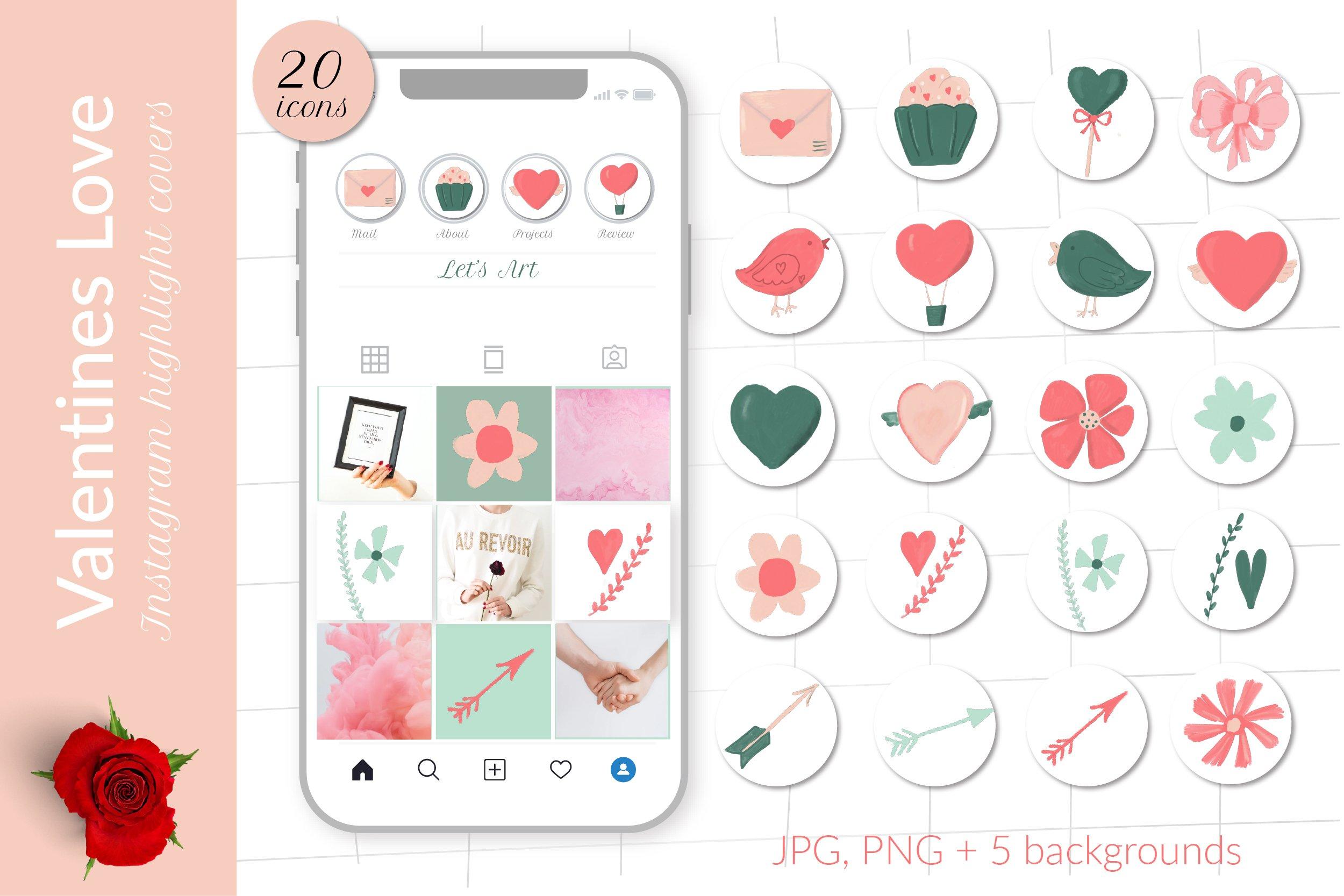 Love Valentine Romantic Instagram Highlight Covers 1115313 Instagram Design Bundles