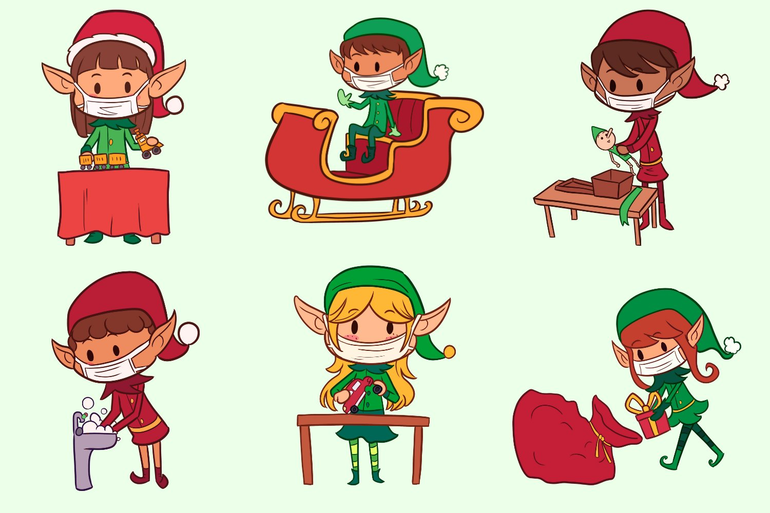 Christmas Elves In Masks example image 3
