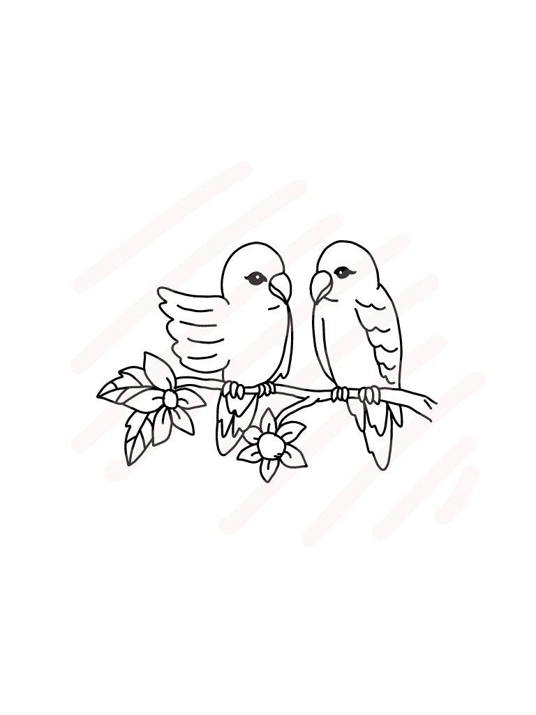 Download Love Birds Line Drawing Svg Jpg Png Hand Drawing 63445 Illustrations Design Bundles