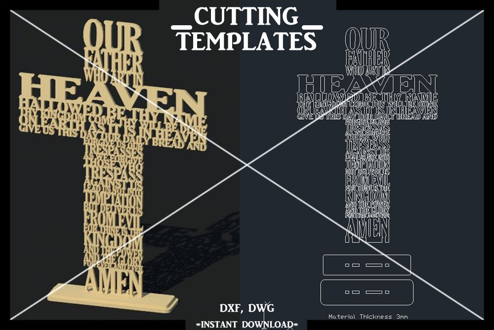 Our Father Cross 3D Decor Vector Laser Cut Template Cut File example image 1