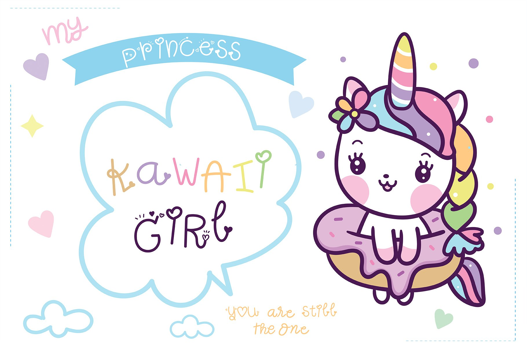 Unicorn princess Handwritten- Cute font Kawaii style example image 3