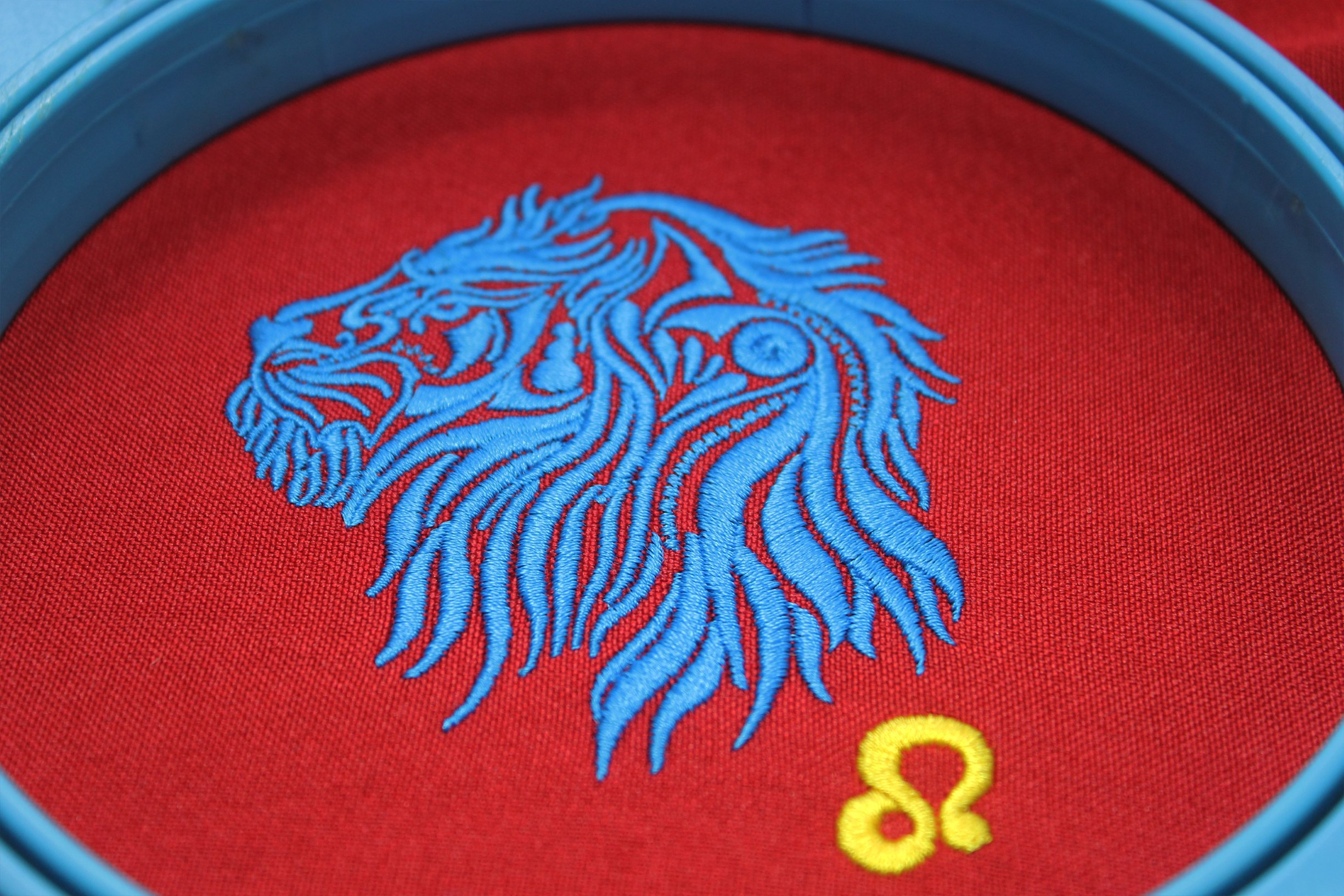 Leo Zodiac Sign - machine embroidery design, satin stitch example image 5