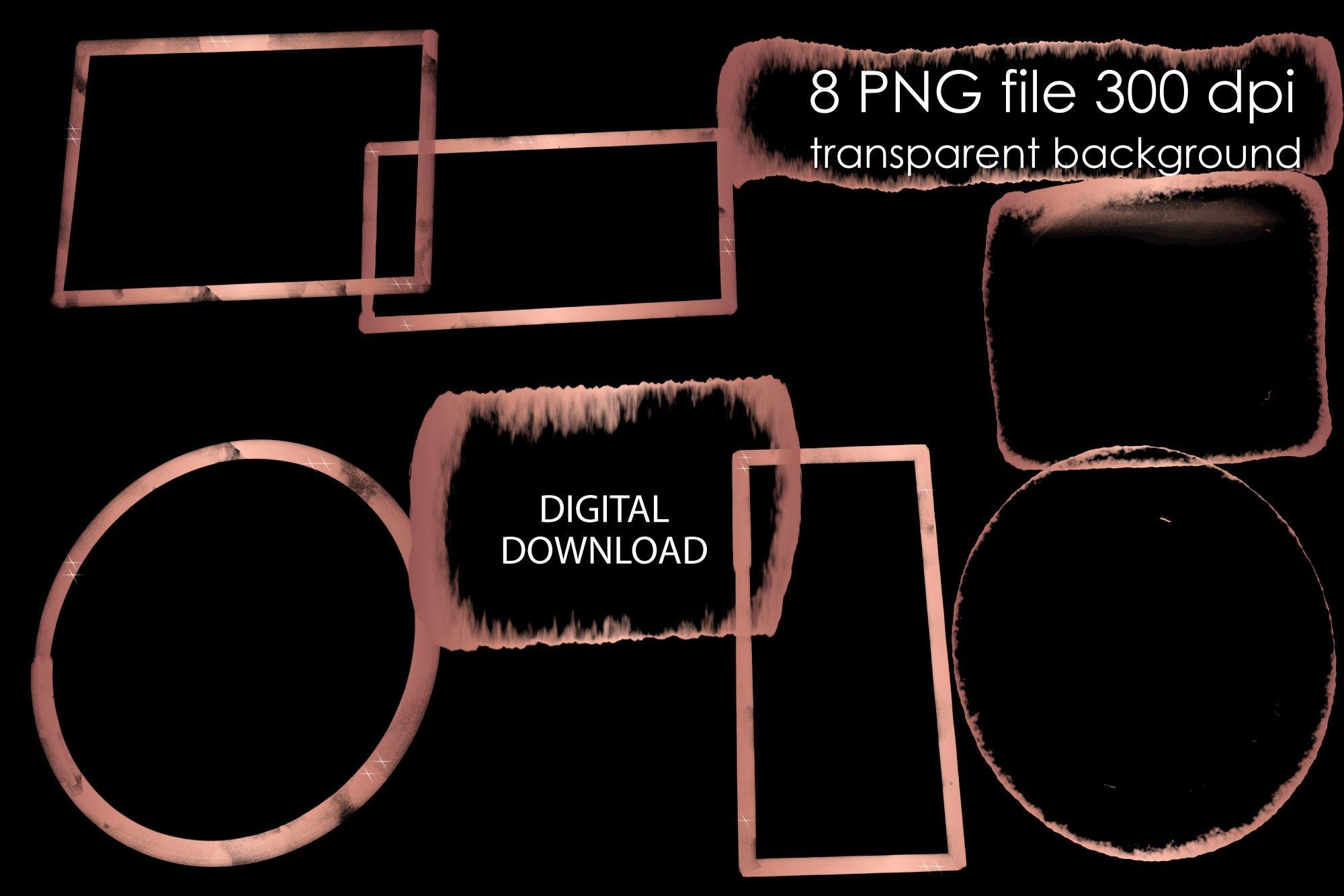 Download Rose Gold Wreath Clipart Png Watercolor Geometric Frame 740259 Elements Design Bundles