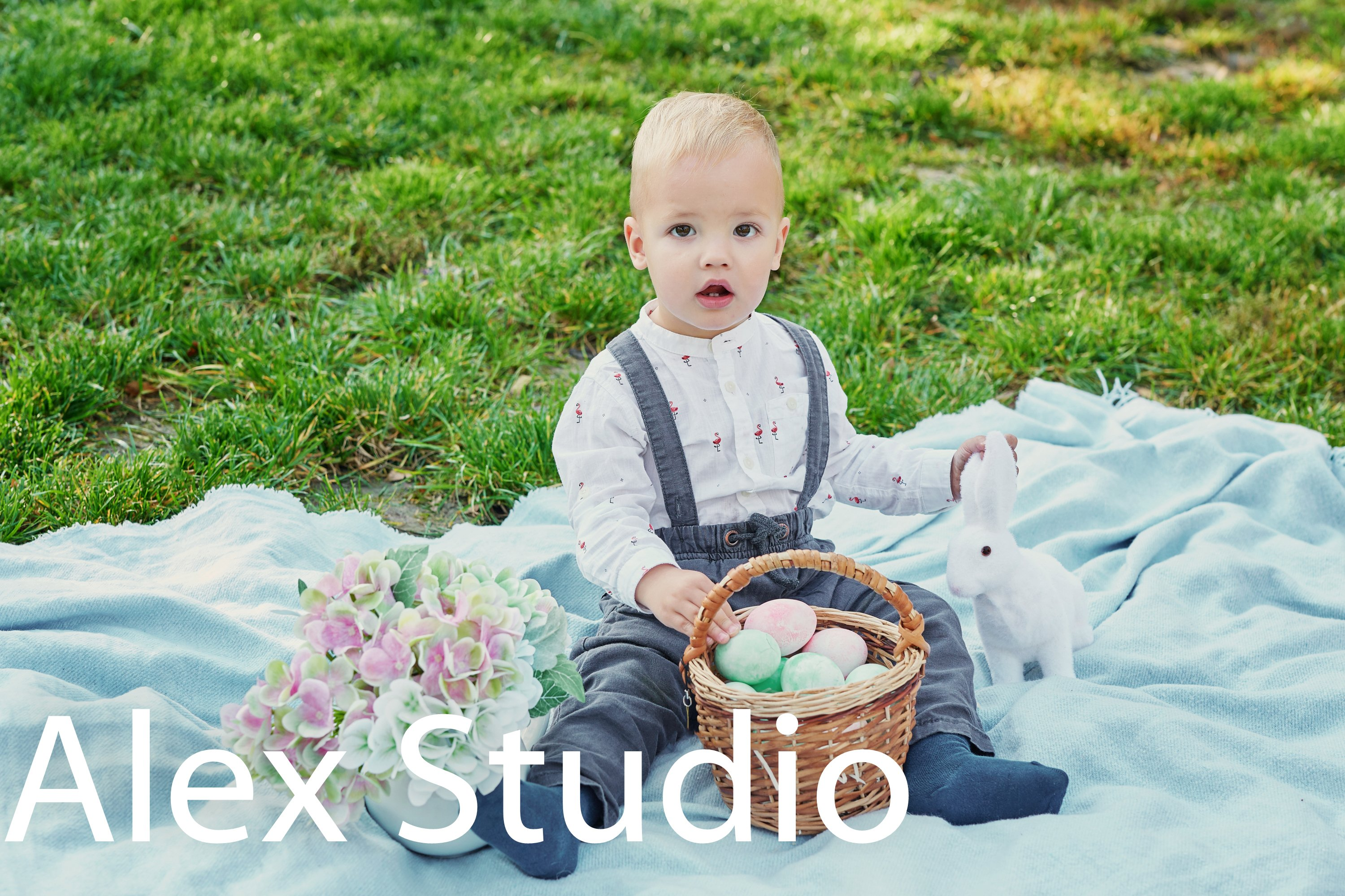 Easter baby boy with bunny and eggs example image 1