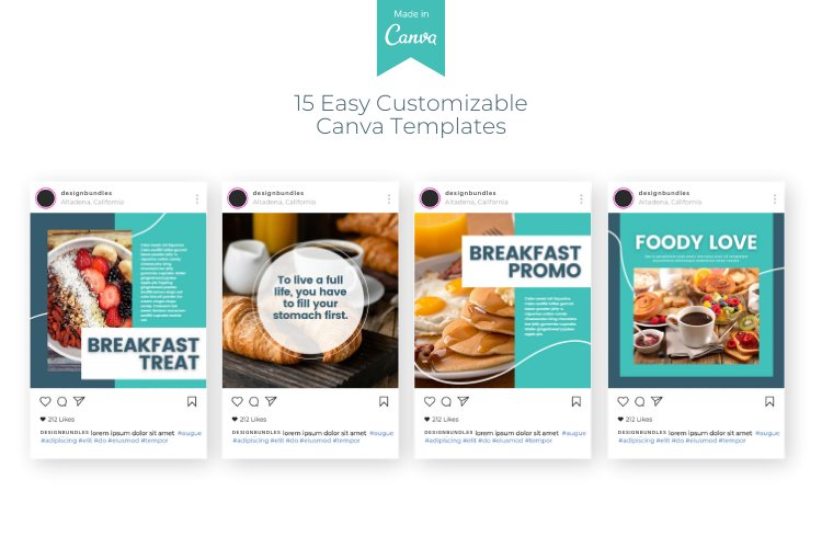 Foody 15 Instagram Square Canva Templates example image 5