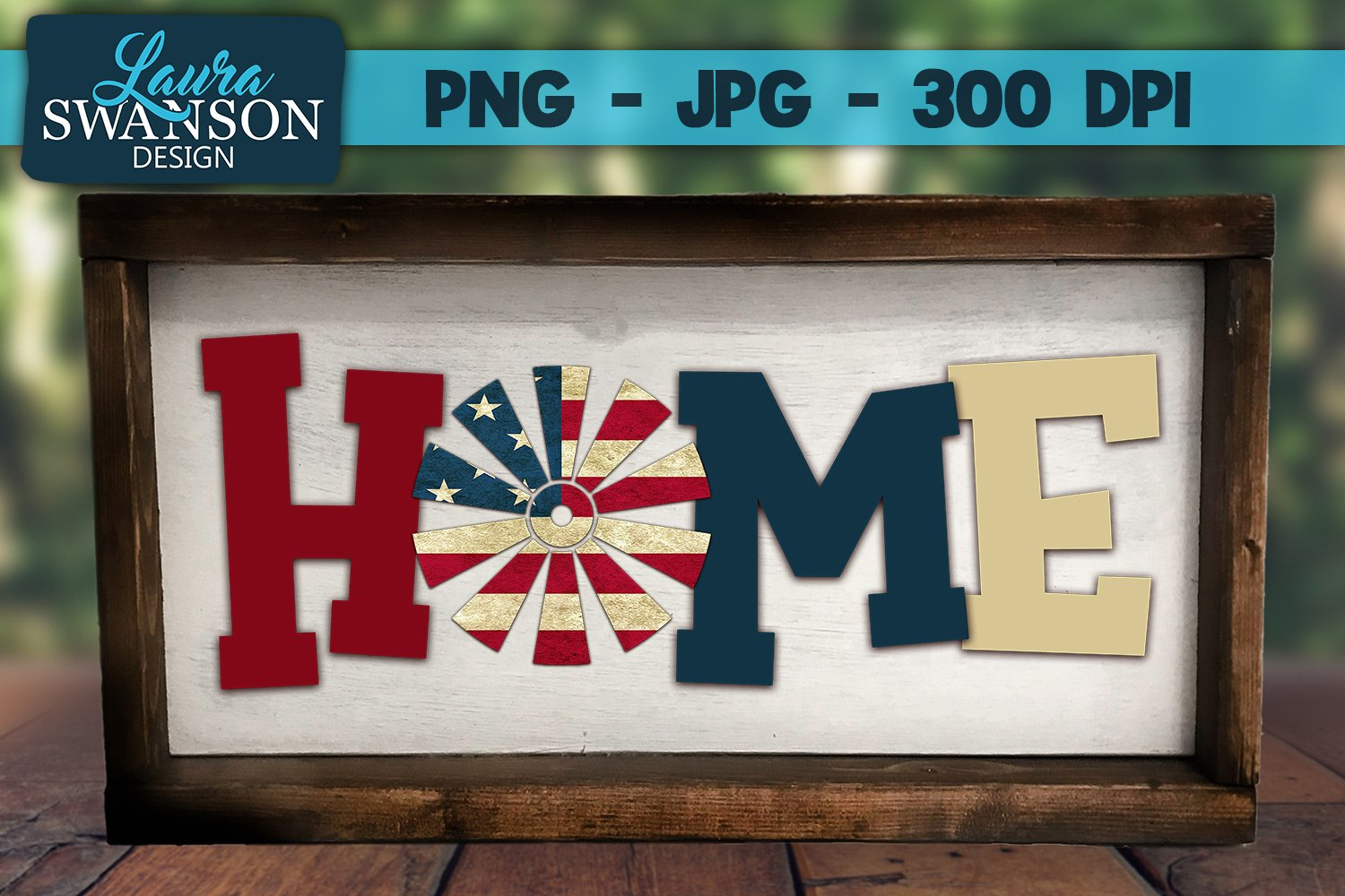 Home with Patriotic Windmill PNG, JPG, Sublimation,PrintnCut example image 1