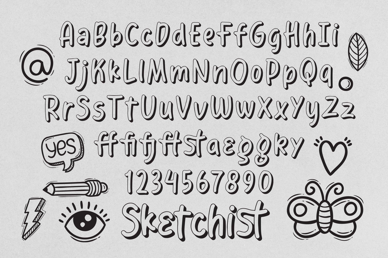 Sketchist - 3D Outlined Fancy Font example image 6