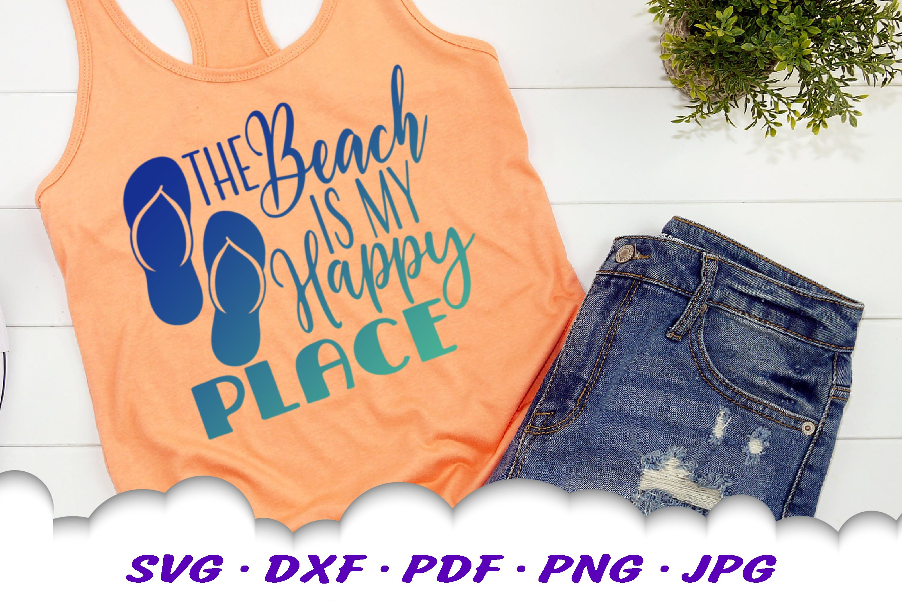 The Beach Is My Happy Place SVG Flip Flops Cut Files example image 4