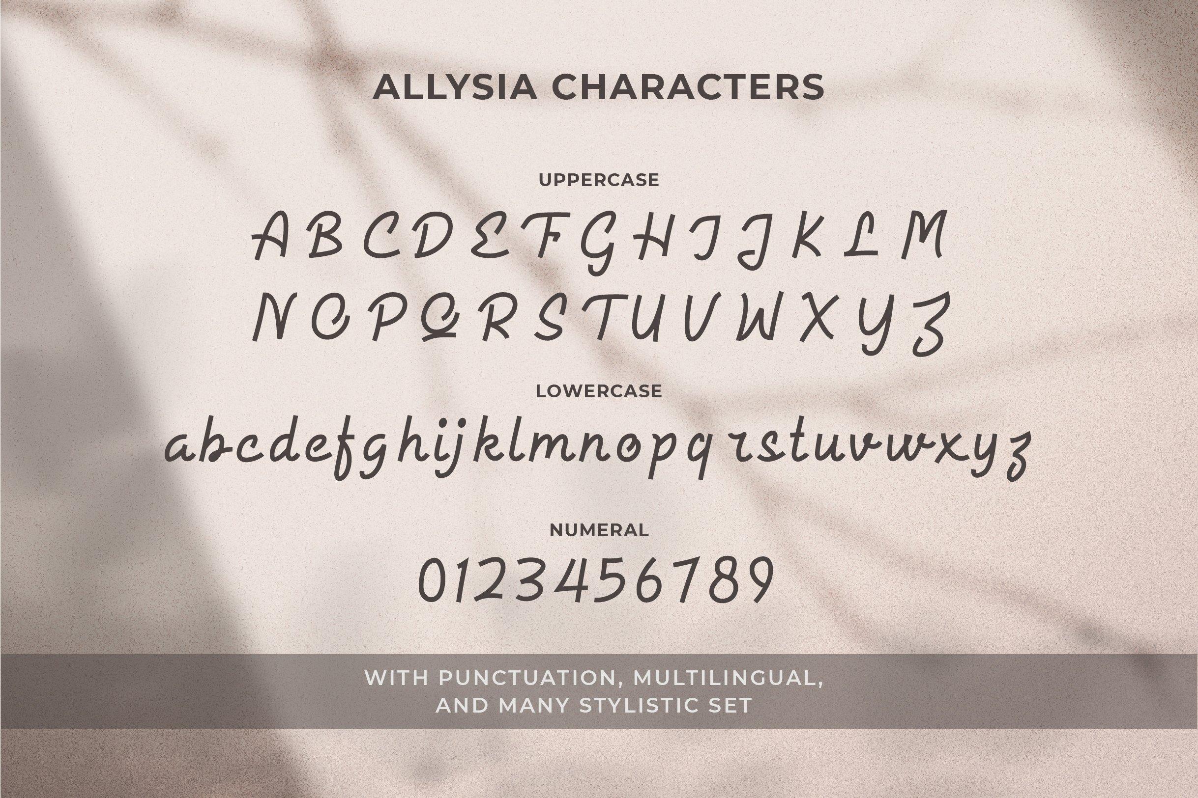 Allysia - a monoline script font example image 11