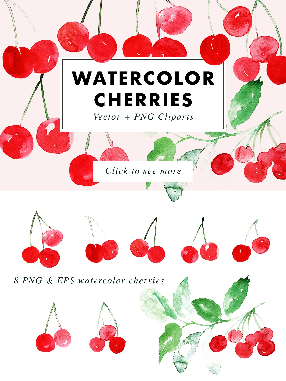 Watercolor Cherries Vector & PNG example image 3