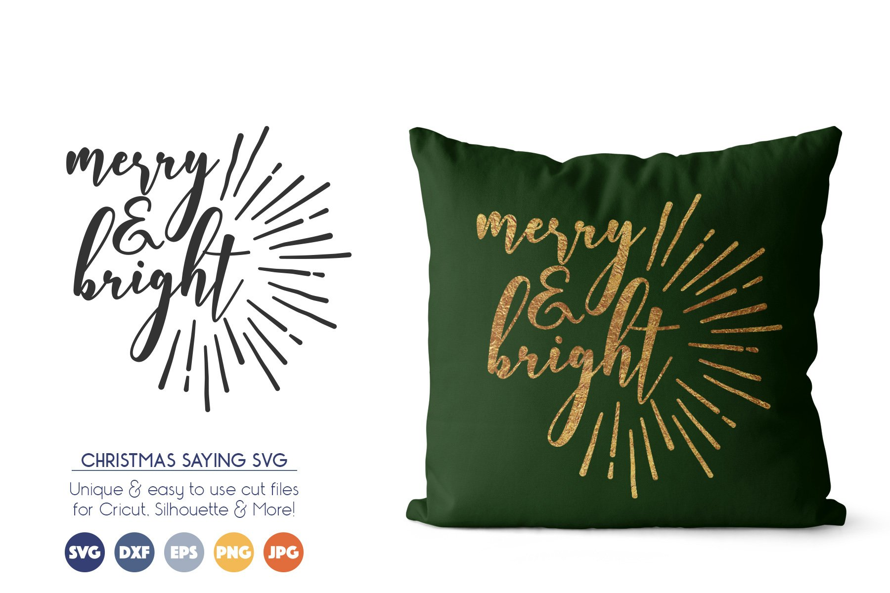 Merry and Bright - Christmas Saying SVG Cut Files example image 1