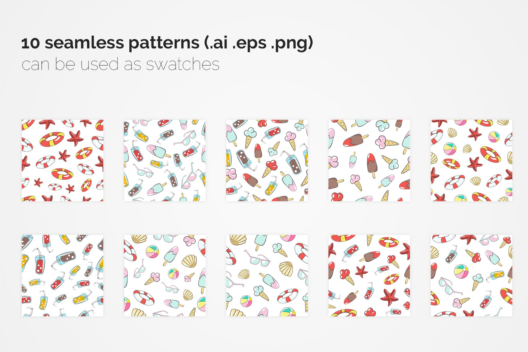 Summer Seamless Patterns example image 3