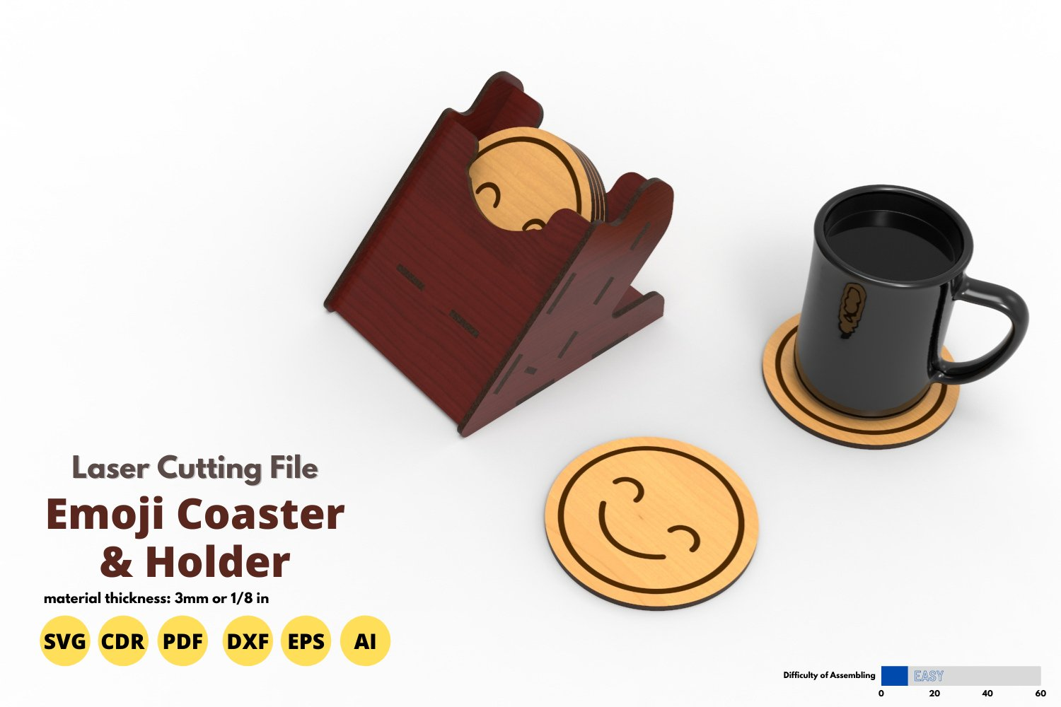 Emoji Coaster & Holder - laser cutting file example image 1