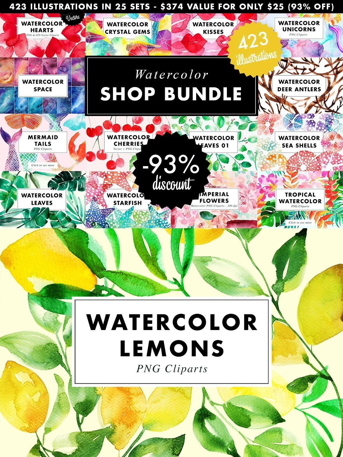 SALE | Watercolor Bundle | Best Sellers Clipart Illustration example image 27