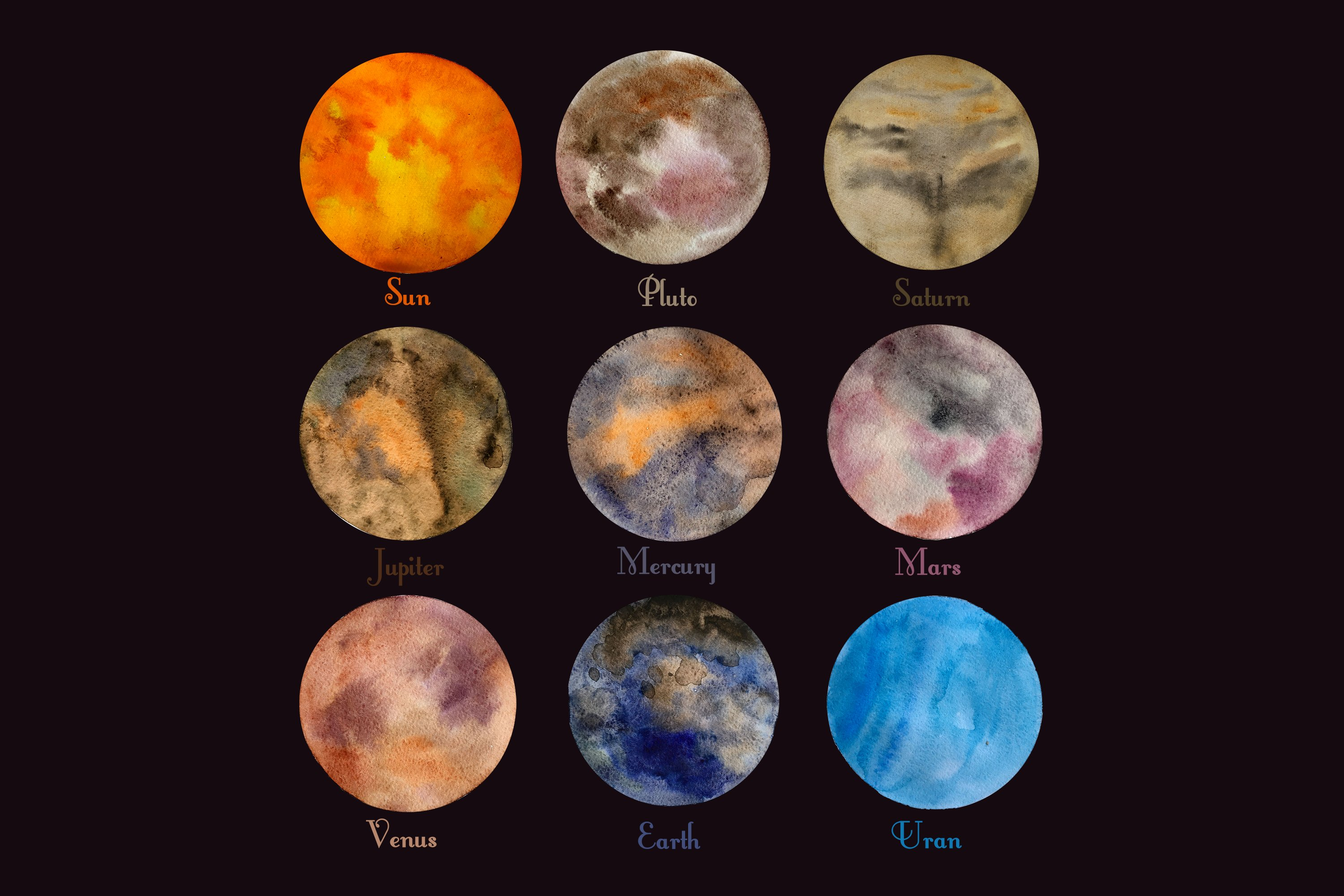 Astronomy watercolor set example image 2