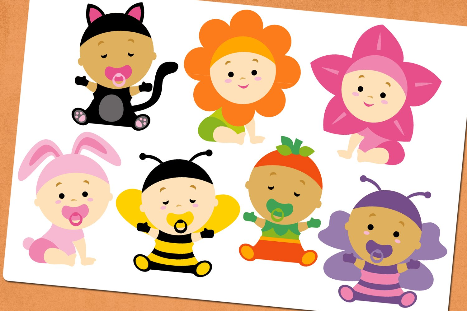 Baby girl in costume illustrations example image 2