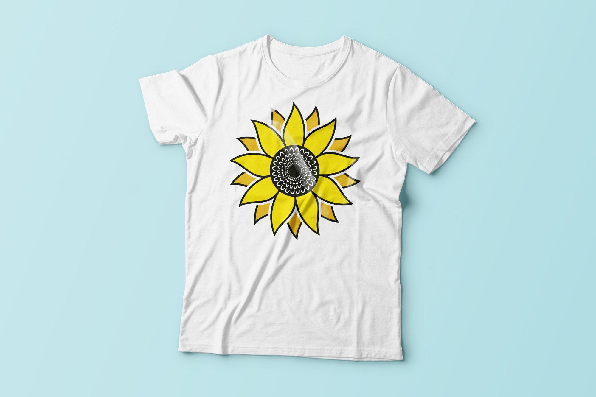 Sunflower SVG, Sunflower Clipart, Sunflower Monogram SVG example image 2