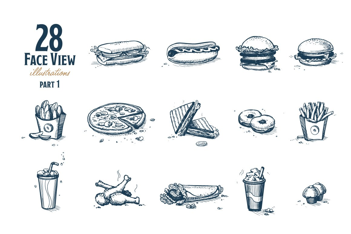Fast Food Hand Draw Illustration Set example image 7