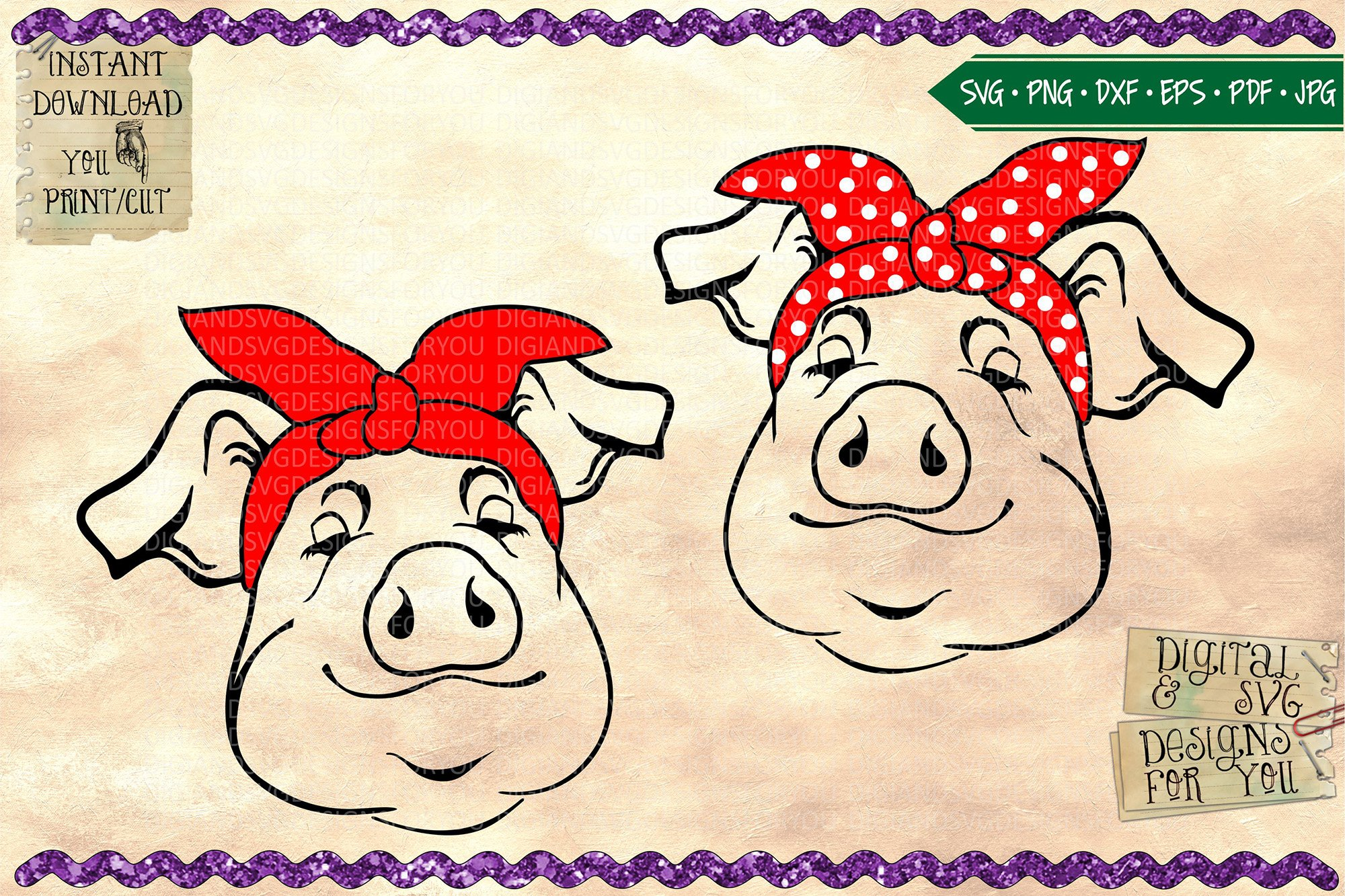 Happy pigs with bandanas example image 1