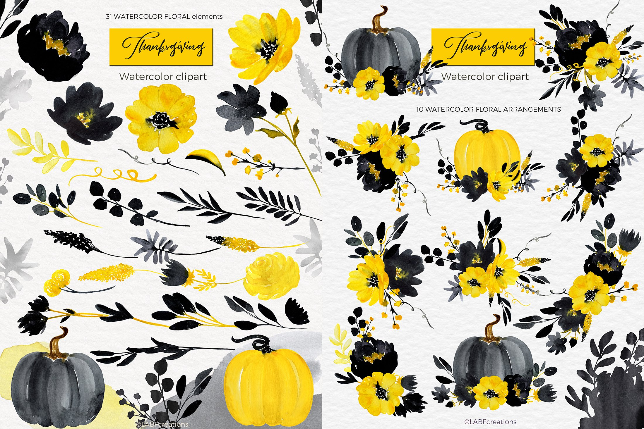 Thanksgiving. Black & Yellow Watercolor flowers example image 5