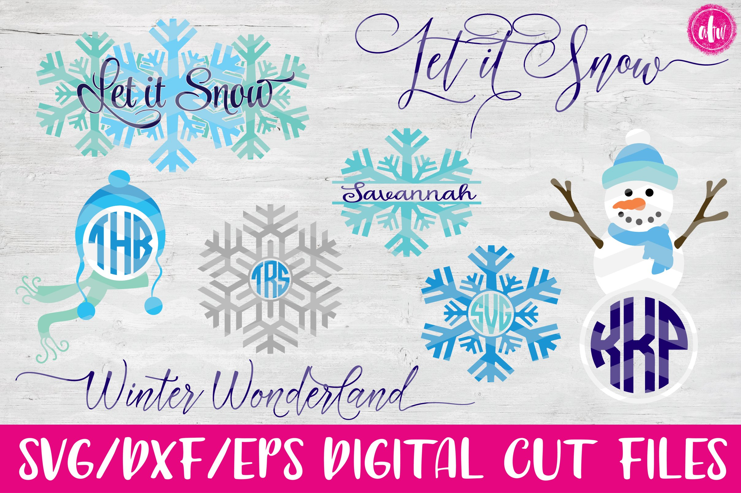 Winter Set - SVG, DXF, EPS Cut Files