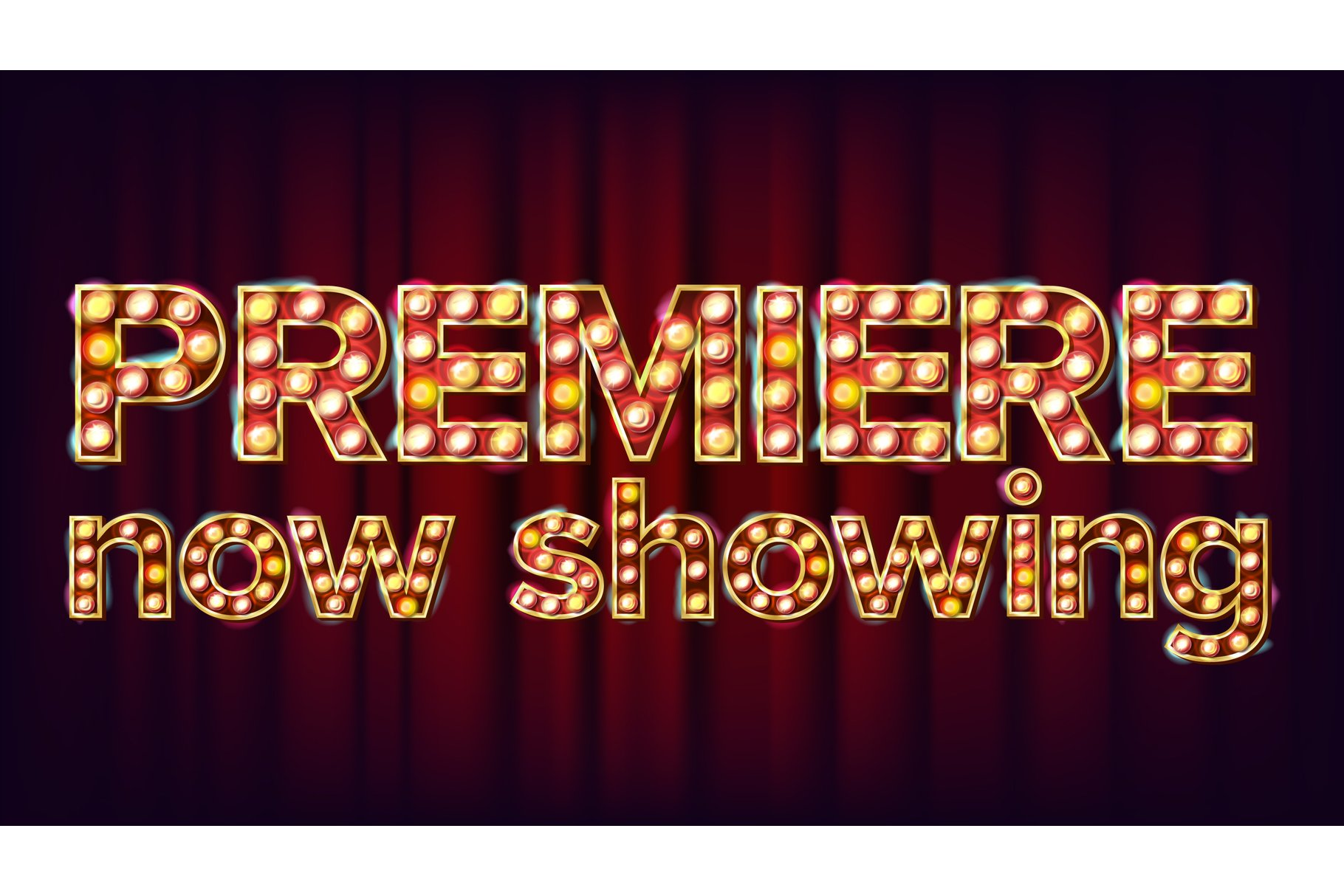 Premiere Now Showing Poster Vector. Cinema Glowing Lamps. example image 1