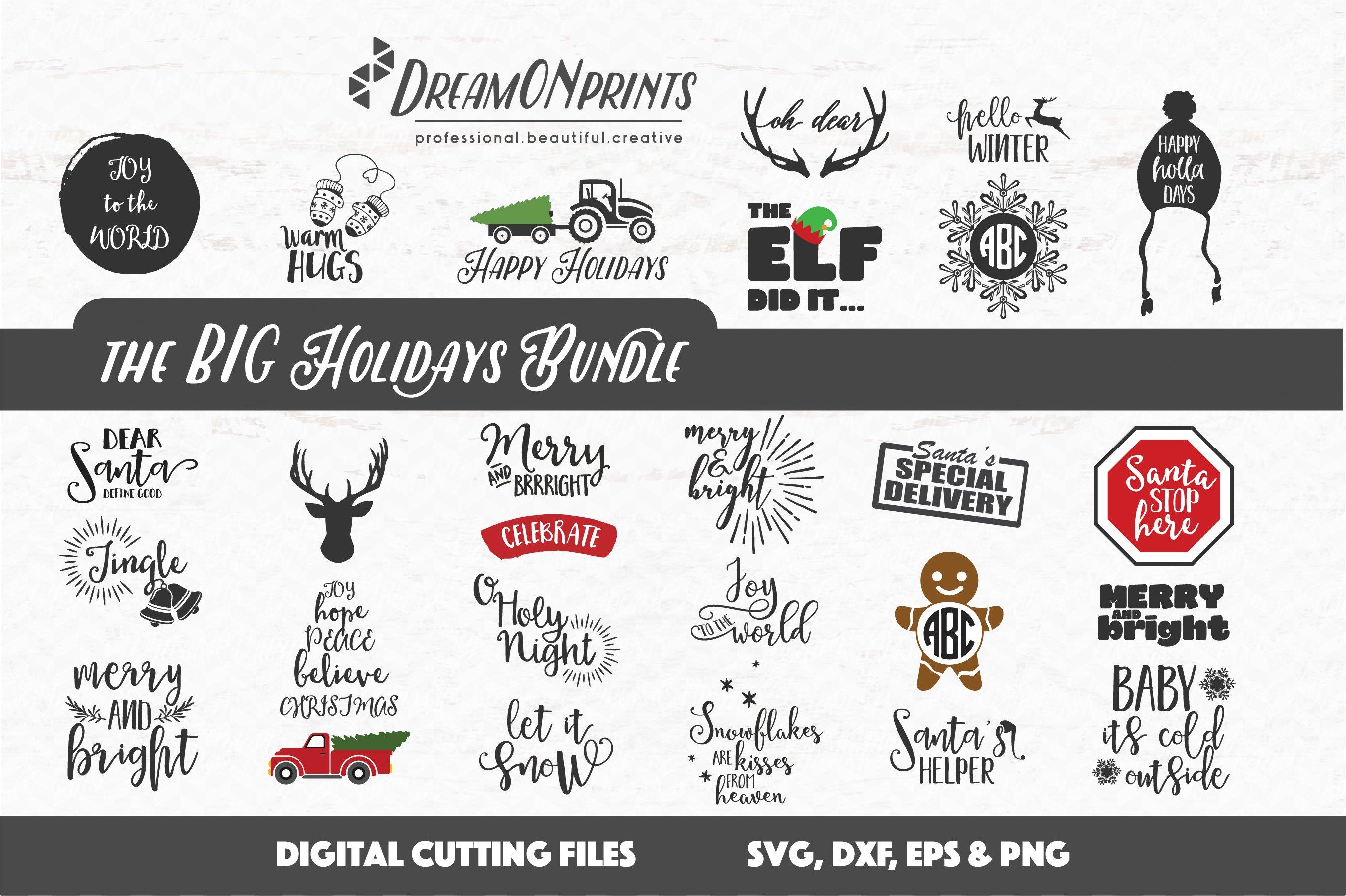 The BIG CHRISTMAS Holidays Bundle - 27 SVG Designs example image 2