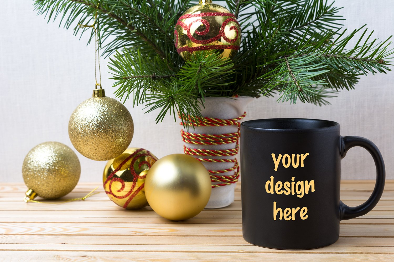 Black coffee mug mockup with golden red Christmas ornaments example image 1