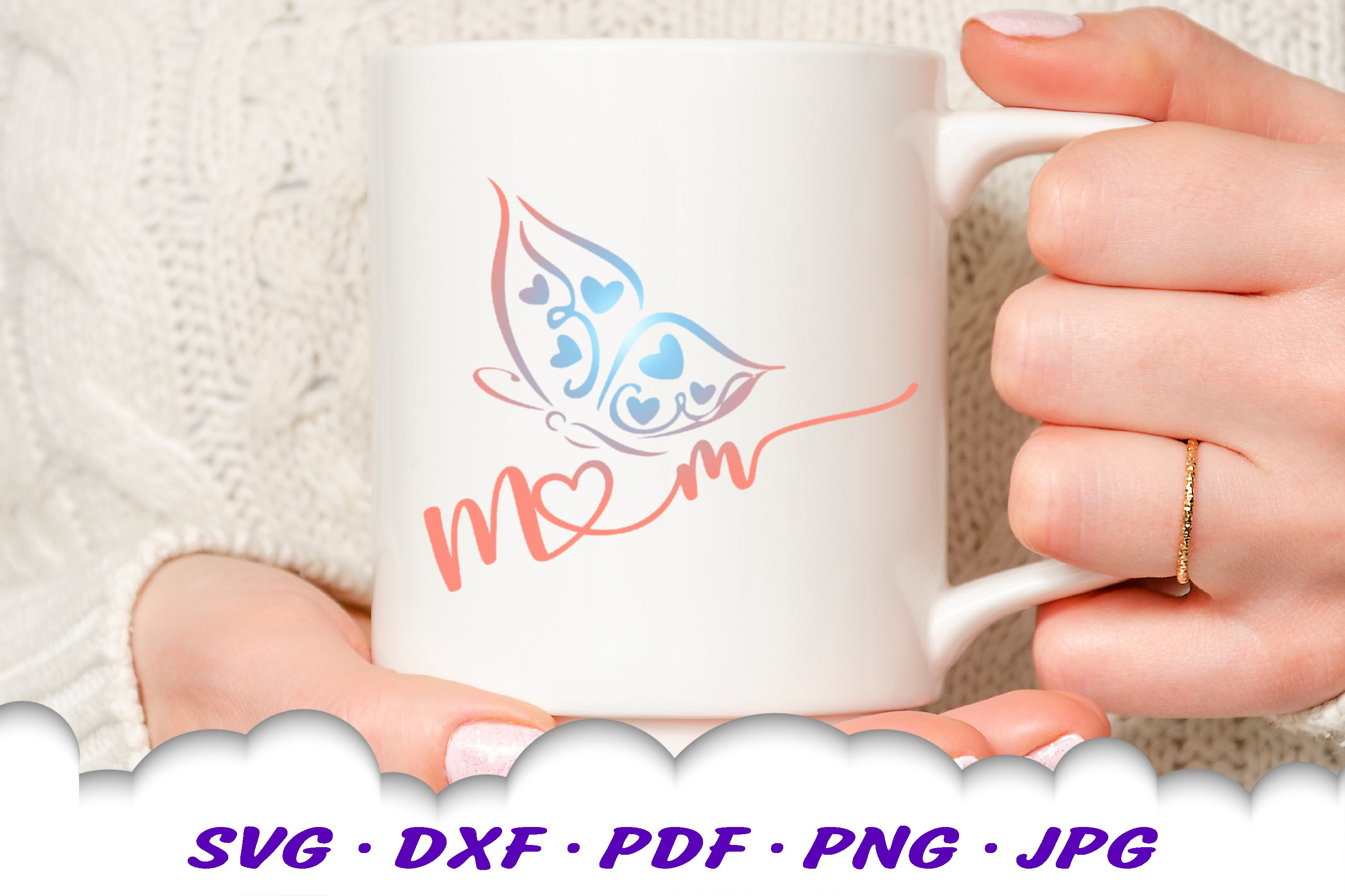 Mom Gift Shirt Butterfly SVG DXF Cut Files example image 2