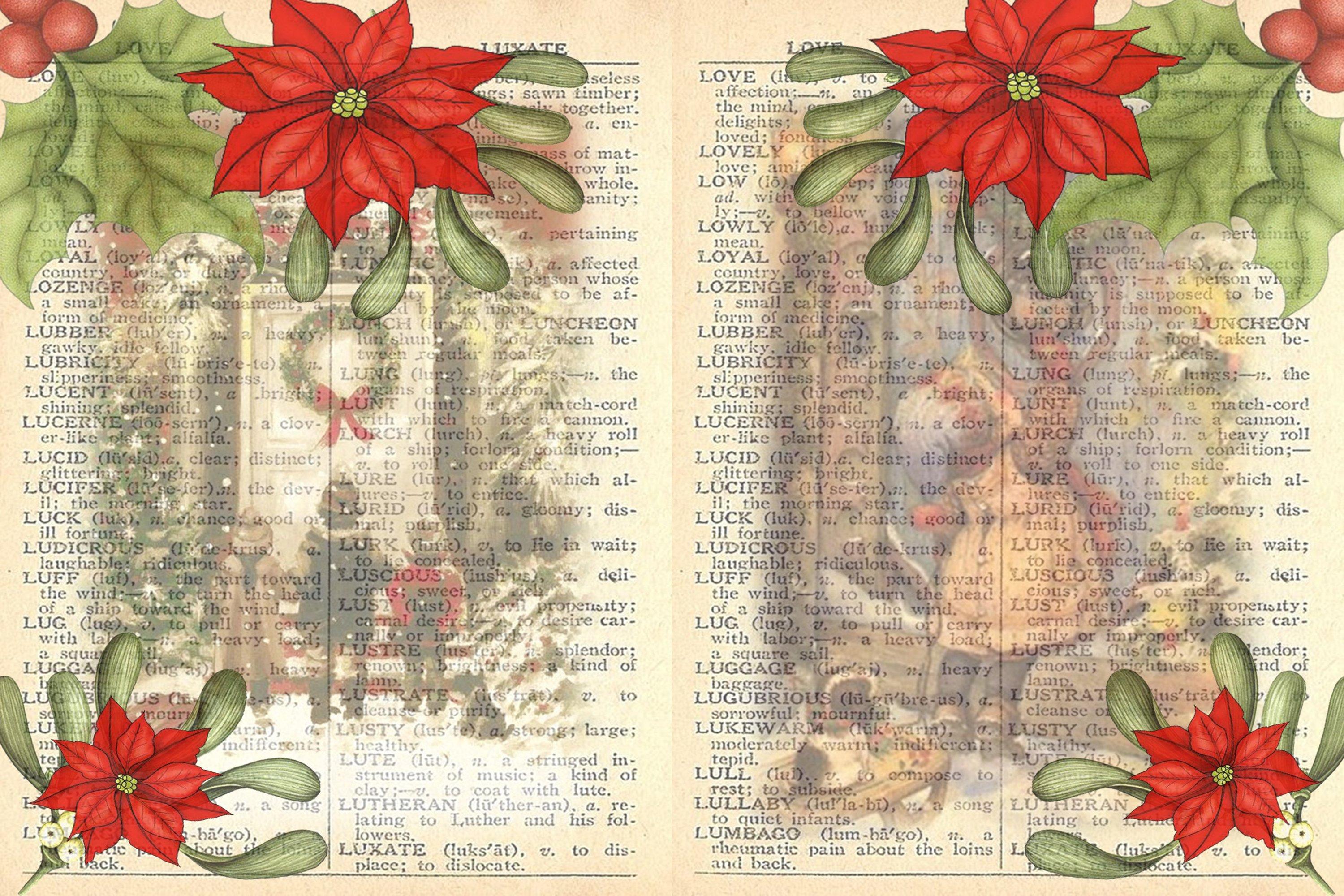 Victorian Christmas Backgrounds and Clipart JPEG PNG PDF example image 7