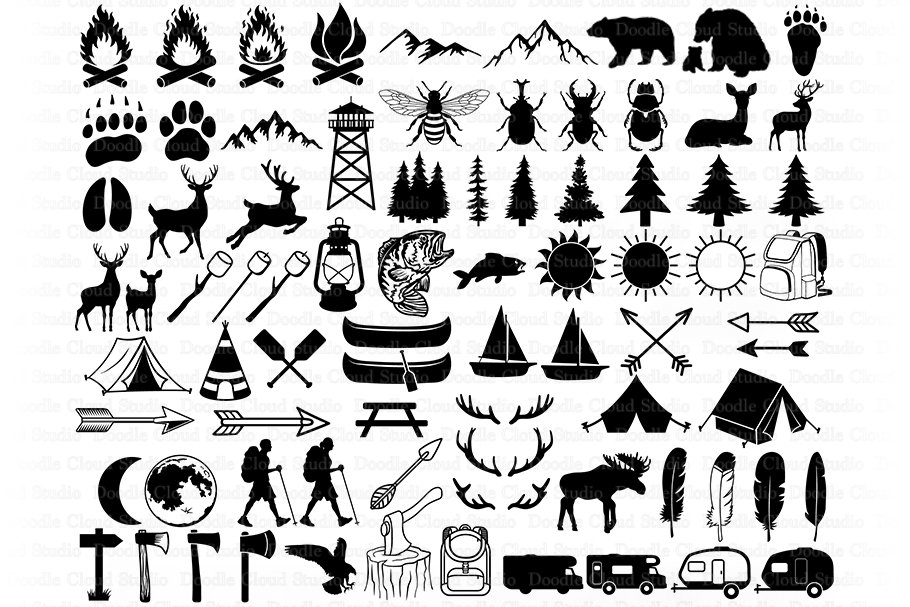 Camping Bundle SVG Cut Files, Summer Camp, Camping Clipart. example image 1