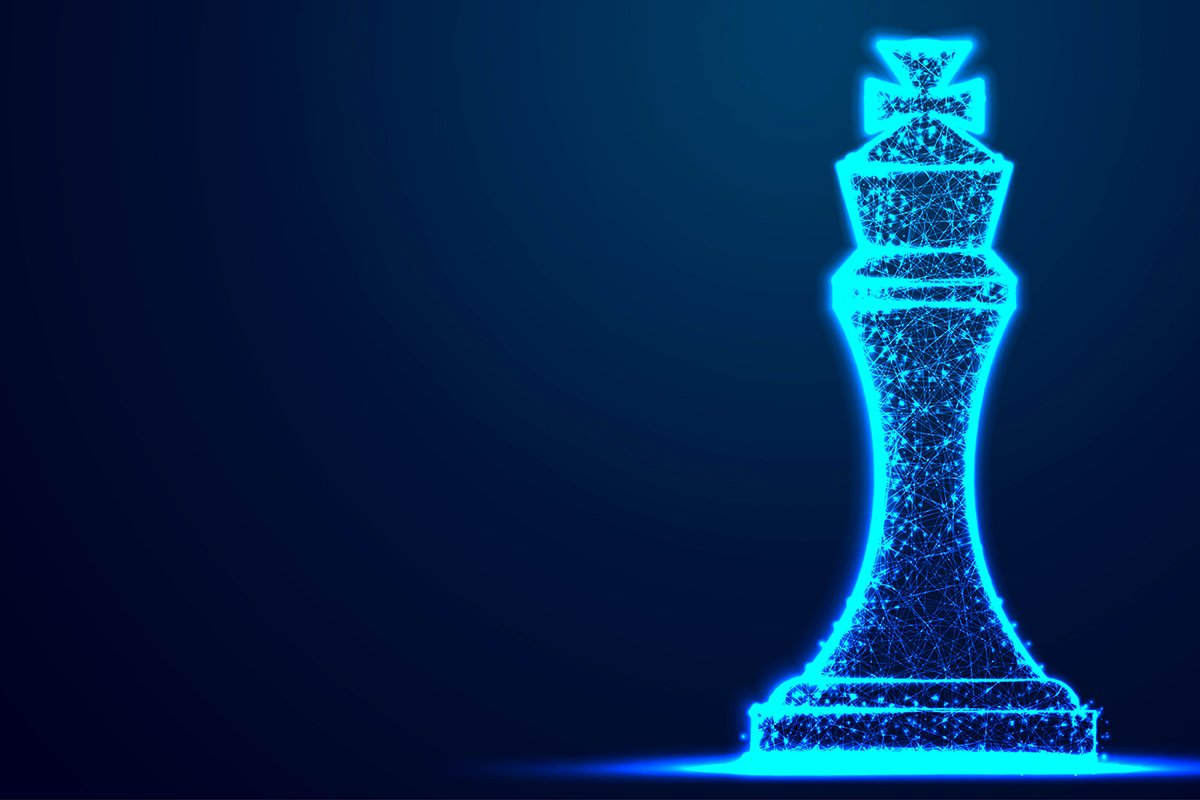 Chess King wireframe Polygon blue frame structure, Business example image 1