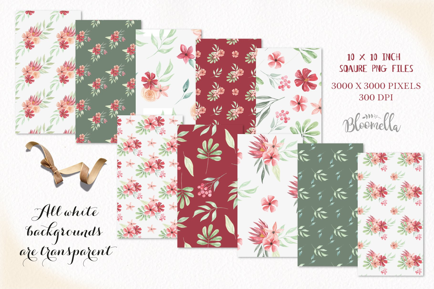 Claret Red Floral Seamless Patterns Green Digital Papers example image 3