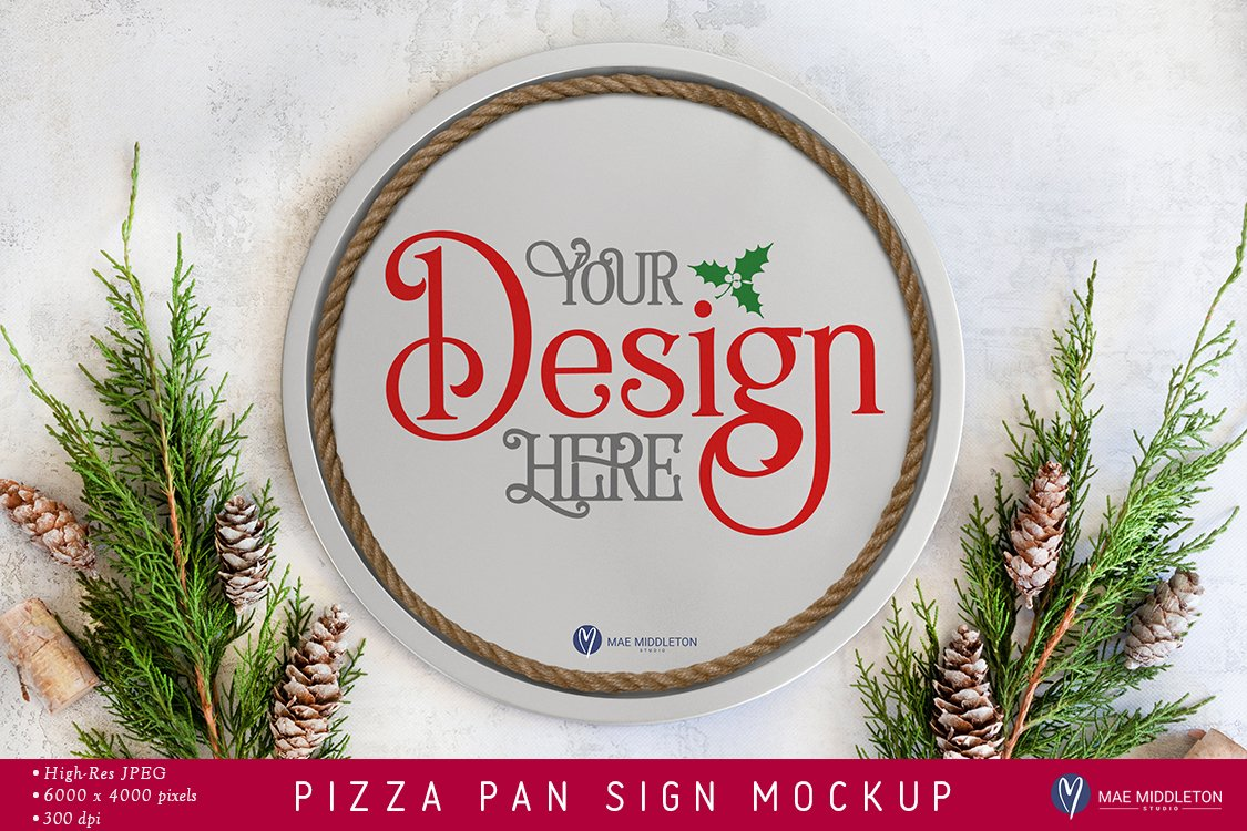 Pizza Pan Christmas Sign Mockup Styled Photo 1059051 Occasions Design Bundles