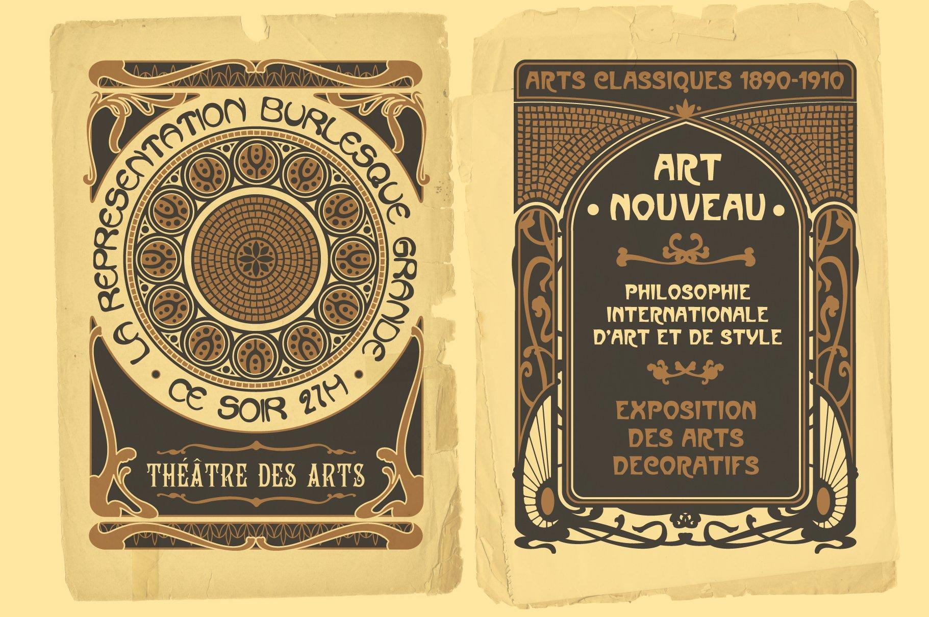 Vintage Art Nouveau Style Design Templates example image 2
