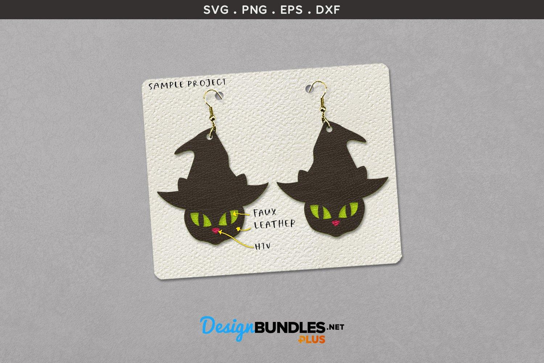 Halloween Earrings Template | Black cat's glowing eyes example image 2