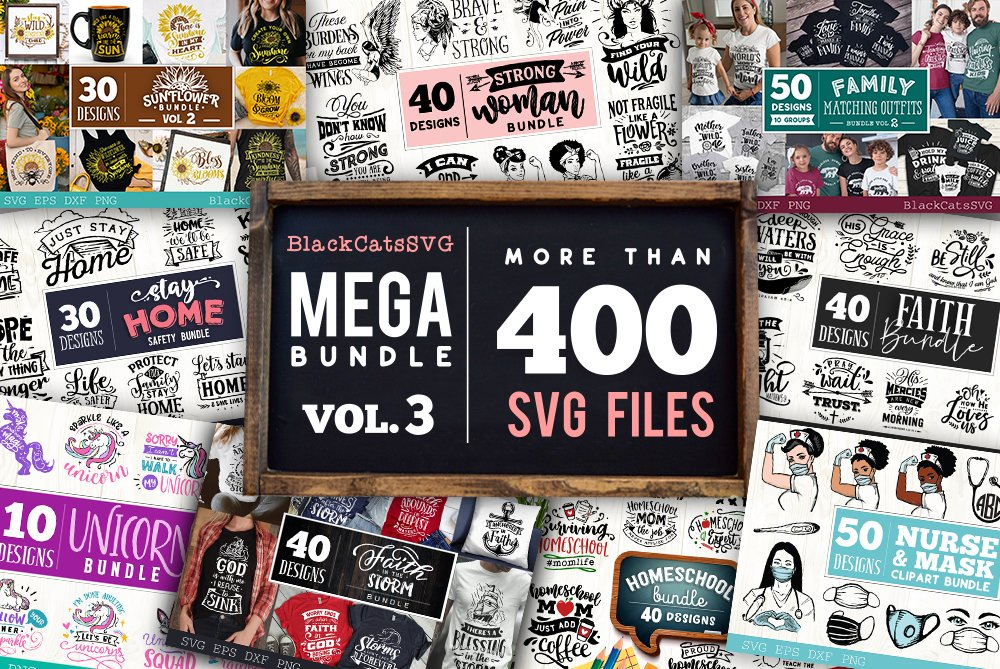 Mega Bundle 400 SVG designs vol 3 example image 1