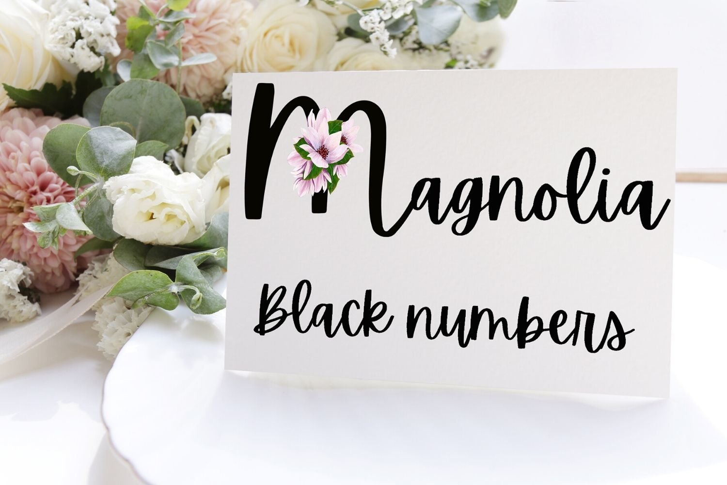 Black Magnolia Alphabet and Number example image 4