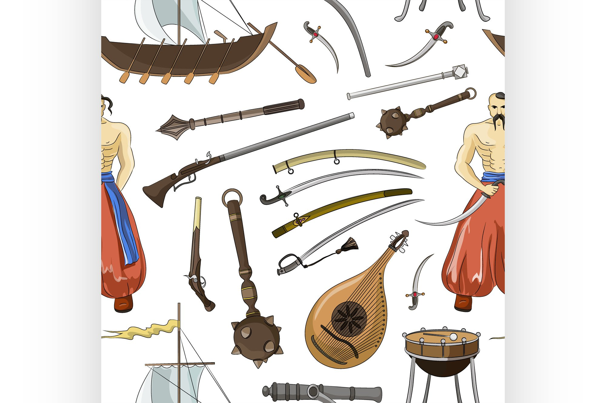 Vector set of Cossacks objects pattern example image 1