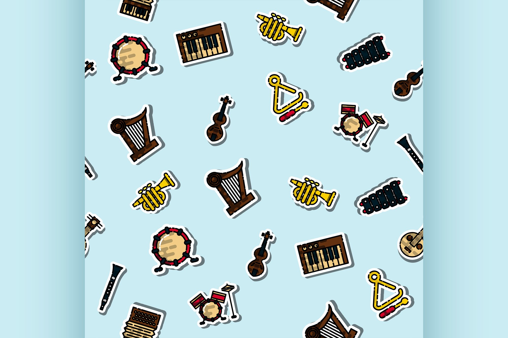 Colored musical instruments pattern example image 1