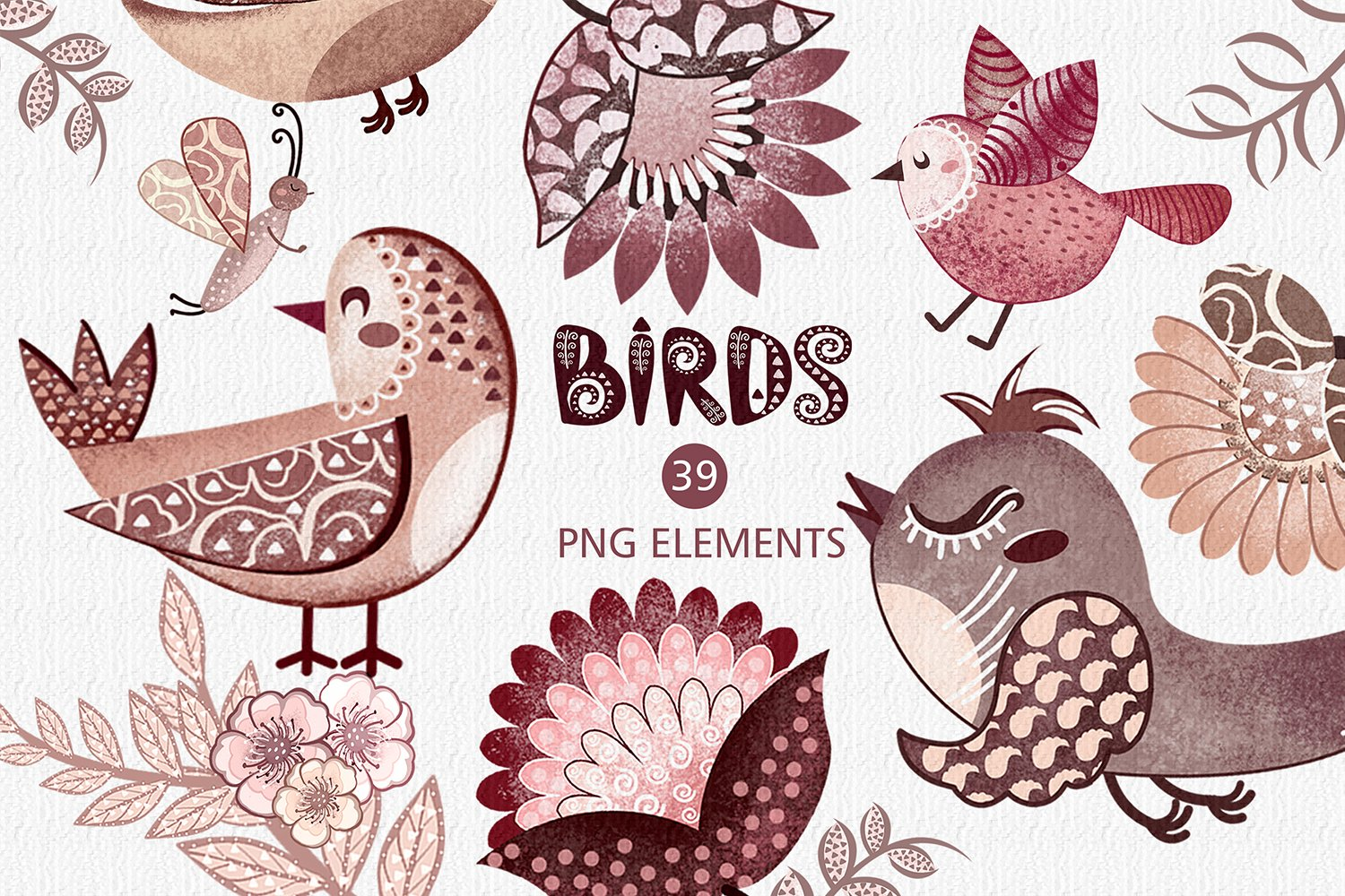 Cute birds with flowers clipart, Pink birds, burgundy flower example image 1