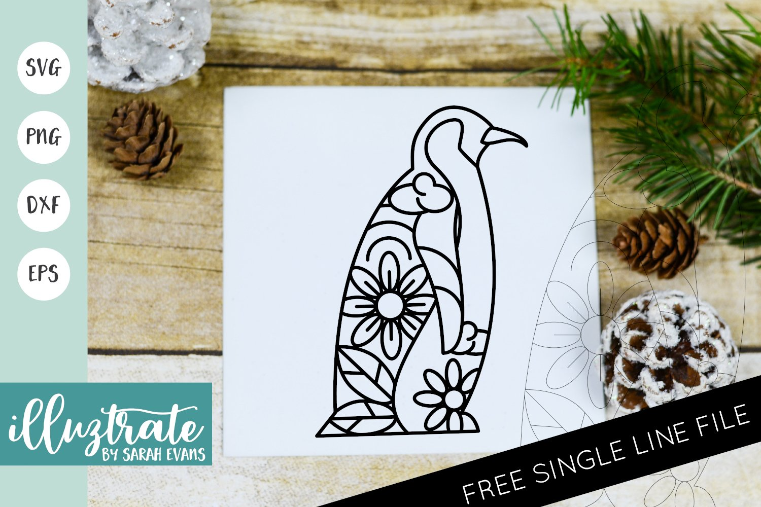 Winter Penguin Mandala SVG | Christmas Mandala SVG Cut File example image 1
