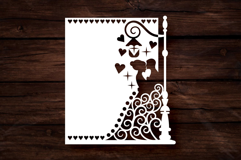 Papercut Wedding Couple, Hearts, Spirals, Street Light example image 3