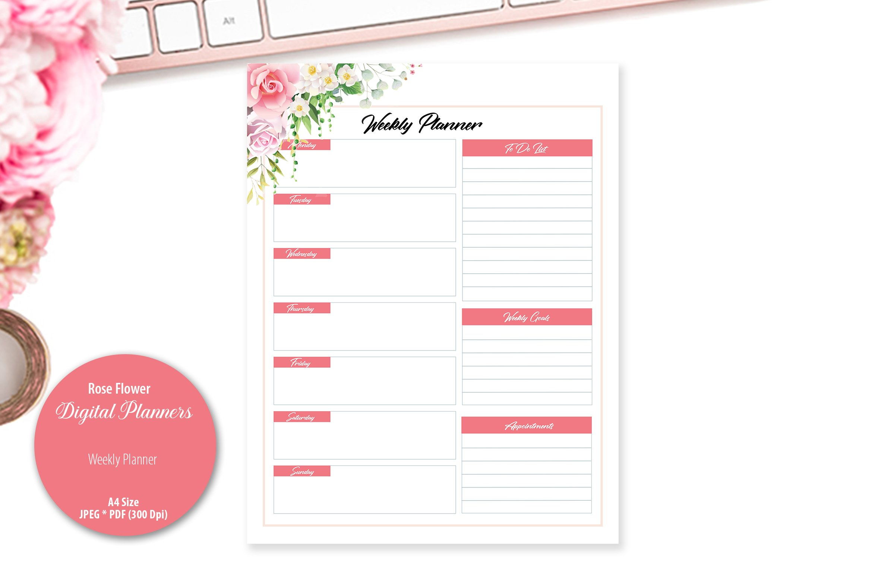 Rose Flower Digital Planner example image 3