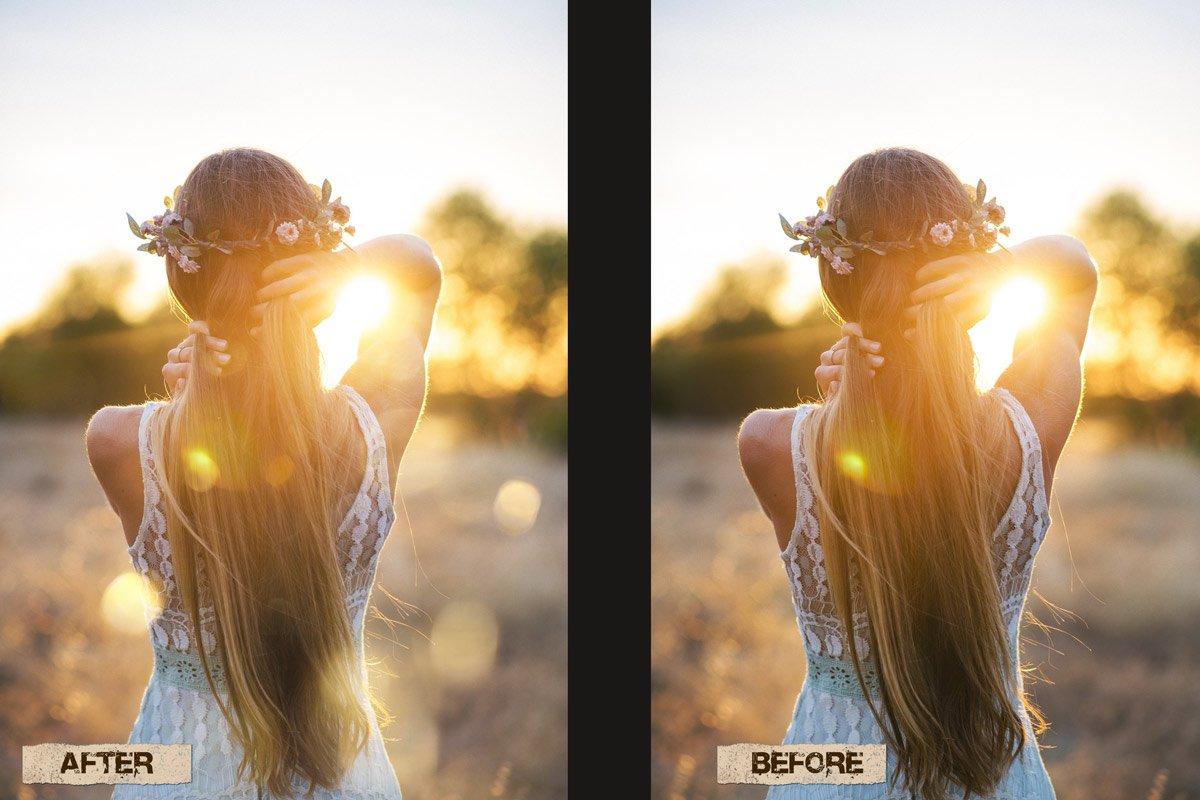 60 Golden light leak effect Overlay example image 9