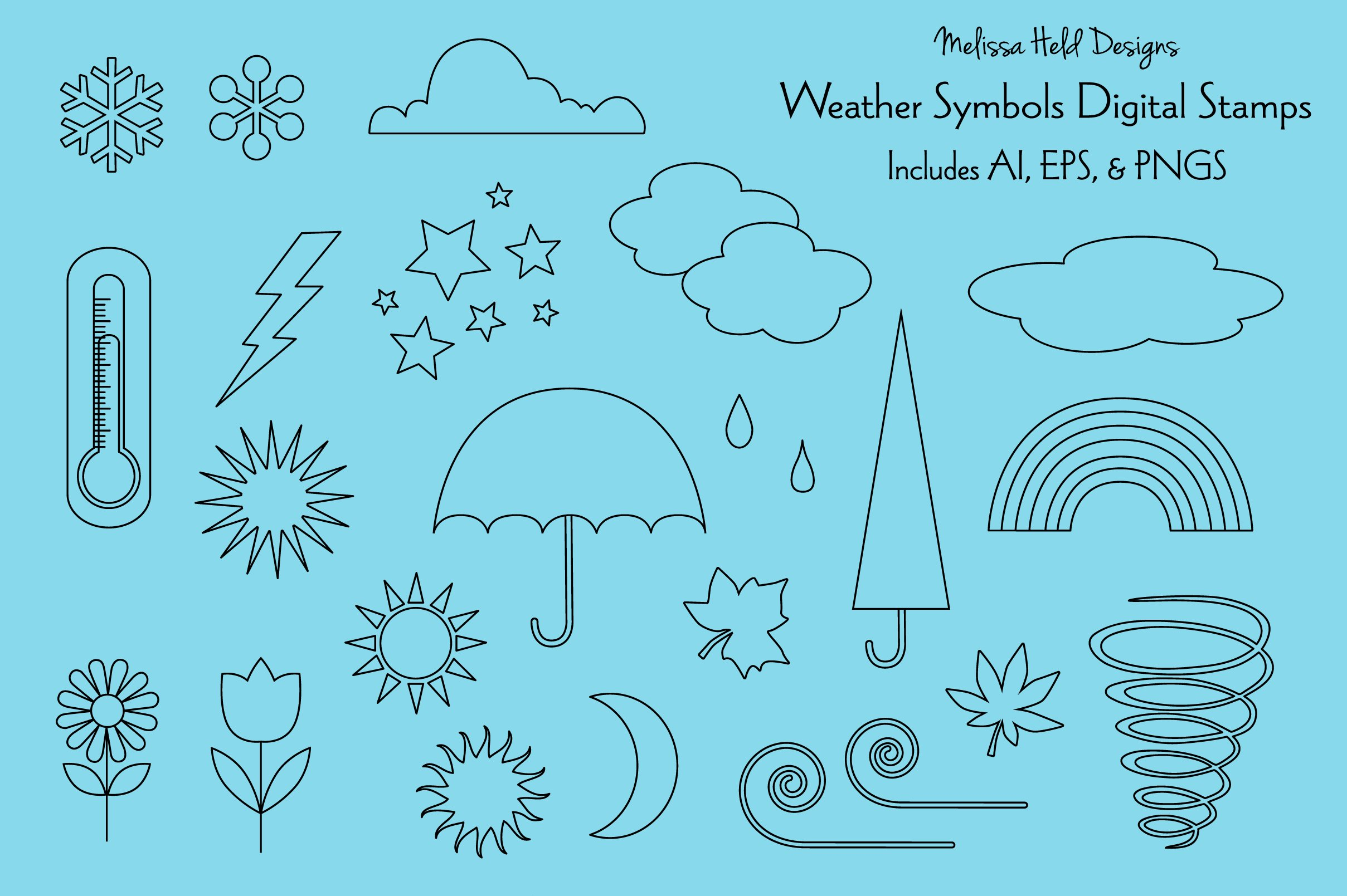 Weather Icons Digital Stamps Clipart example image 1