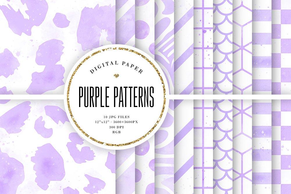 11+ Purple Patterns Digital Paper DXF