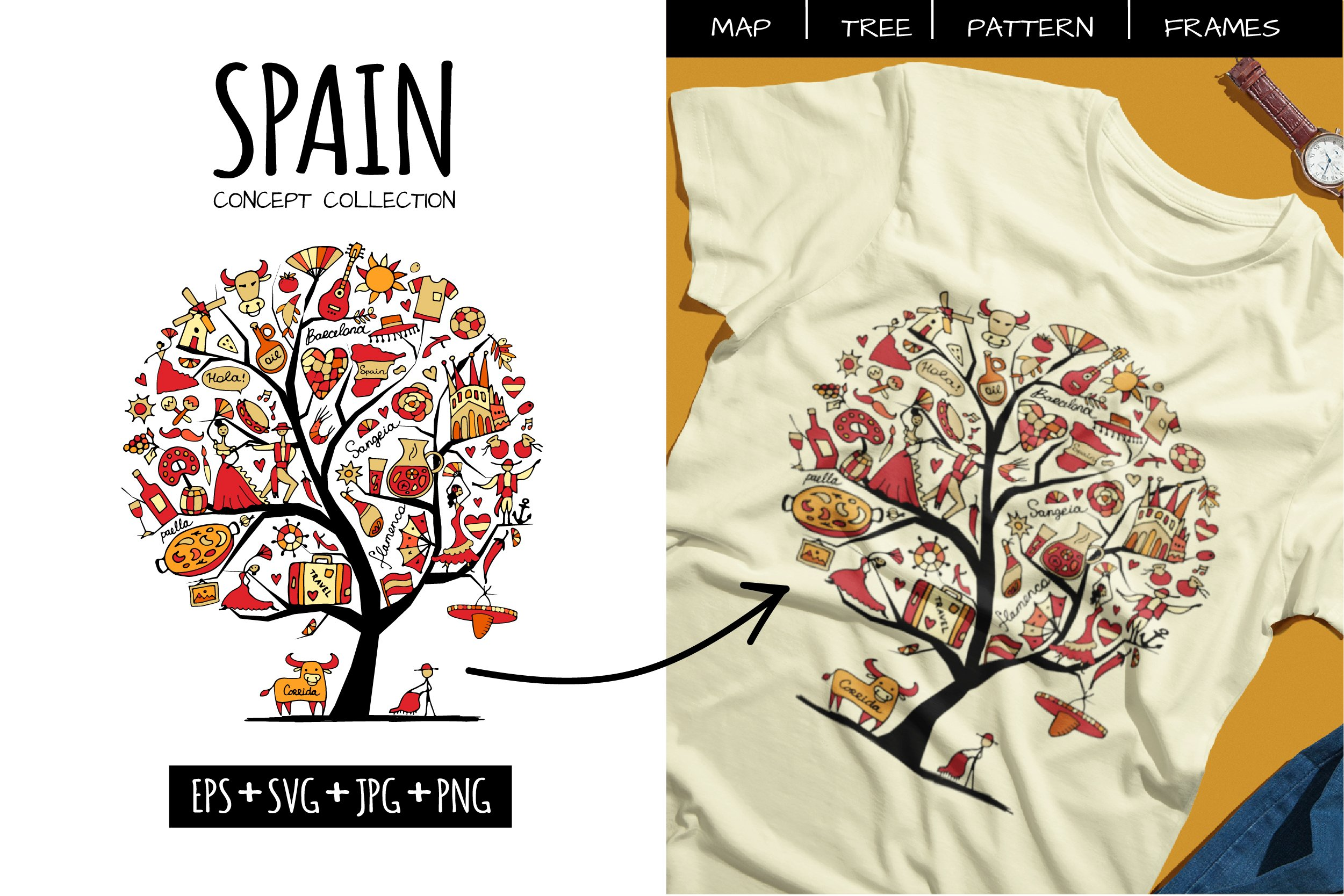 Spain set in one style - tree, pattern, heart, frame example image 1
